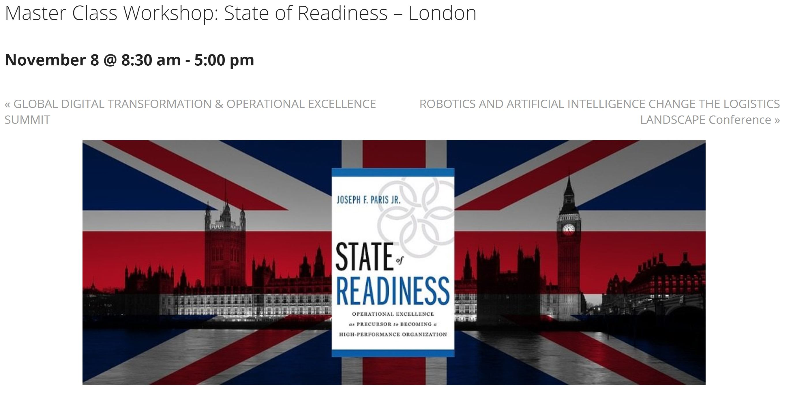 Partner Event: Master Class Workshop: State of Readiness