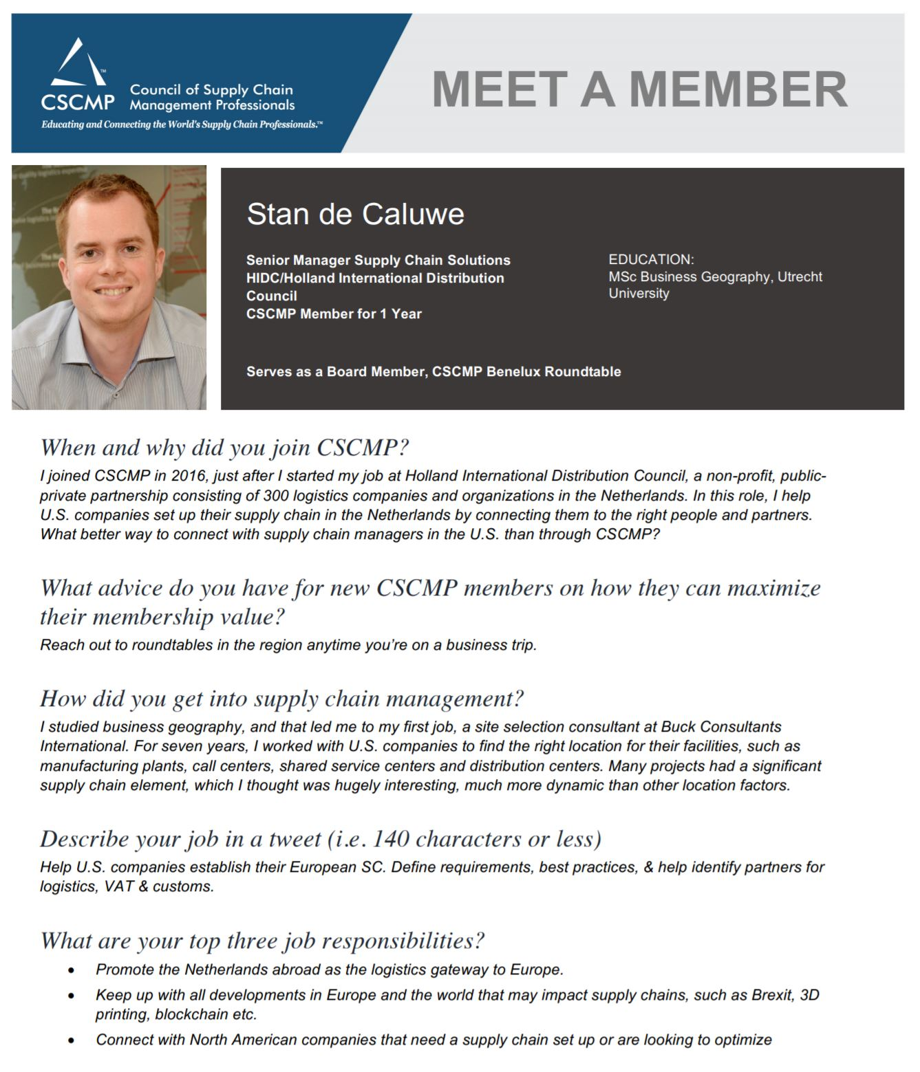 Meet a Member: Stan de Caluwe